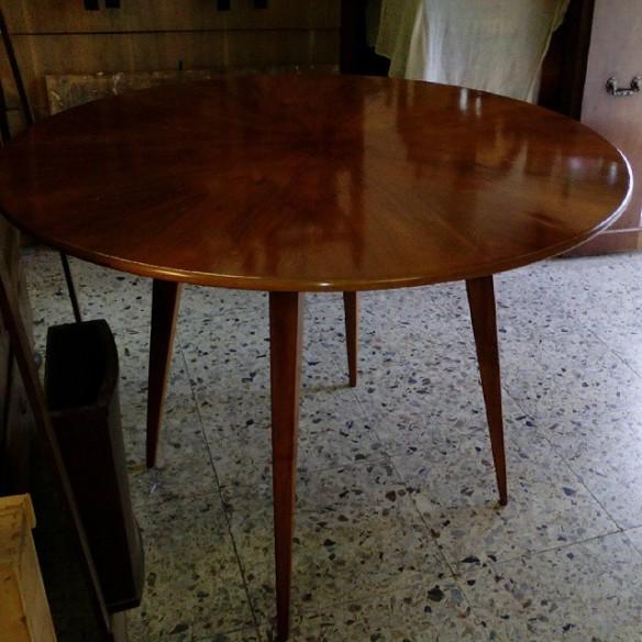 Tavolo Rotondo Anni 60 Lucidato Lucidatura Restauro Arte Cultura